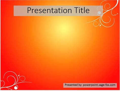free simple orange powerpoint template 3903 sagefox