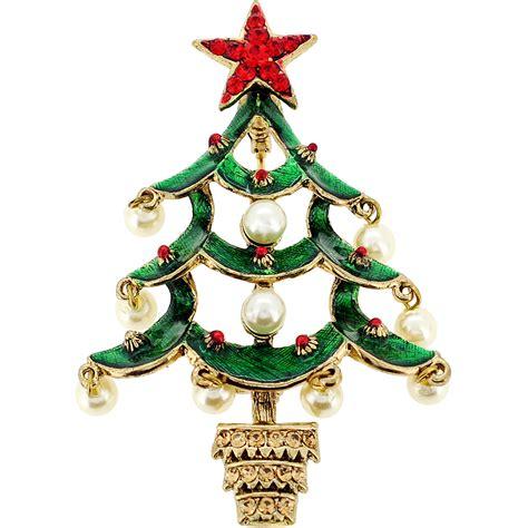 green christmas pearl tree swarovski crystal pin brooch