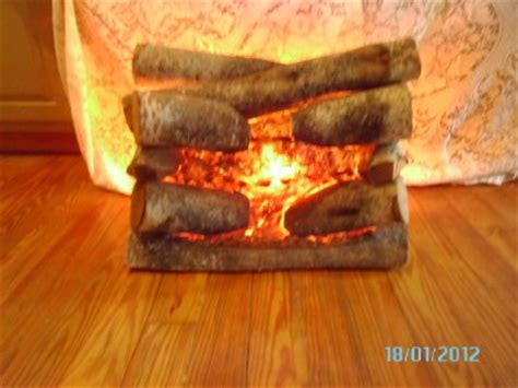Artificial Fireplace Logs Electric by Vintage Faux Electric Fireplace Real Wood Logs Ebay