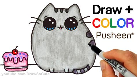 i sew cute and draw how to draw color pusheen cat step by step easy cute