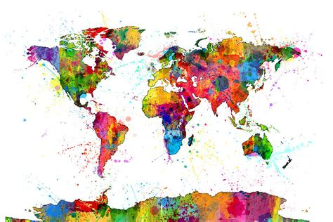 the art of worldly watercolor political map of the world digital art by michael tompsett