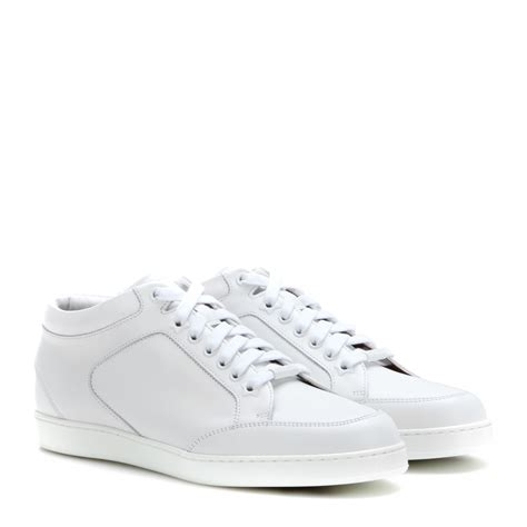 jimmy choo sneakers jimmy choo miami leather sneakers in white lyst