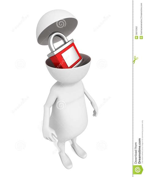 stock illustration of 3d man with safety equipment on white 3d man with red padlock in open head stock