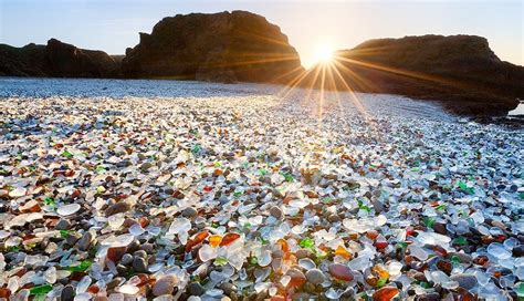 glass beaches glass beach california usa attractivenature