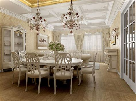 elegant dining room chic white themed elegant dining room installed on wooden flooring and equipped with twin