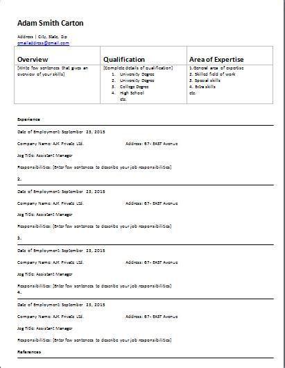 ms word employment history form template formal word