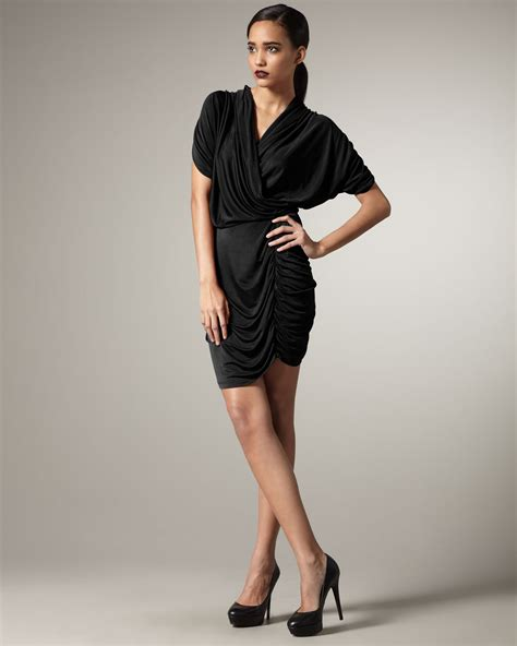 Chaterine Dress lyst catherine malandrino valerie draped dress black in