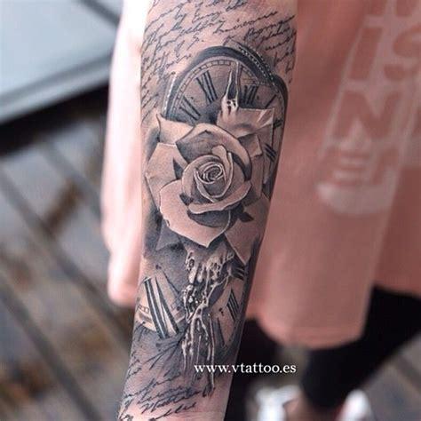 tattoo feather clock rose clock tattoo by miguel tattoos pinterest tattoo