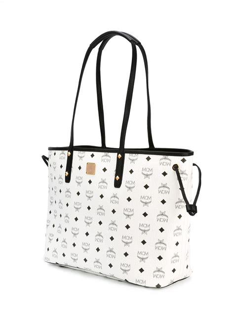 mcm monogram shoulder bag  white lyst