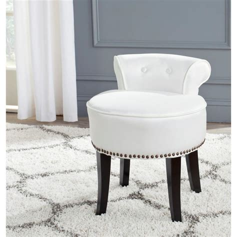 Bathroom Chairs Furniture Safavieh White Poly Cotton Vanity Stool Mcr4546t The Home Depot