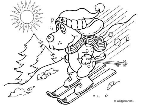 Un Chien Sur Des Skis Coloriage Vacances Gratuit Sur
