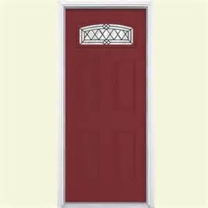 Home Depot Exterior Doors Fiberglass Masonite 36 In X 80 In Halifax Camber Fanlite Painted