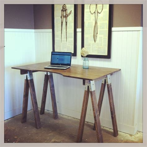 sawhorse desk handmade sawhorse desk by sb designs custommade