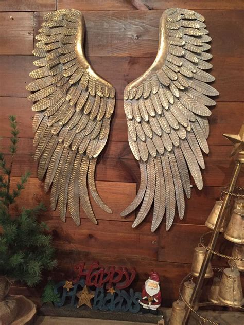 hanging art metal angel wings hanging wall decor rustic distressed