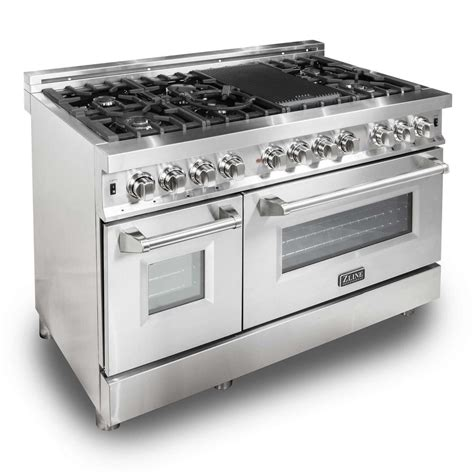 gas cooktop with electric oven zline kitchen and bath zline 48 in stainless steel 6 0 cu