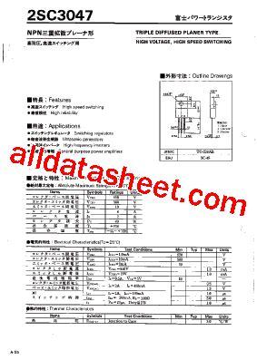 et191 transistor datasheet 2sc3047 datasheet pdf fuji electric