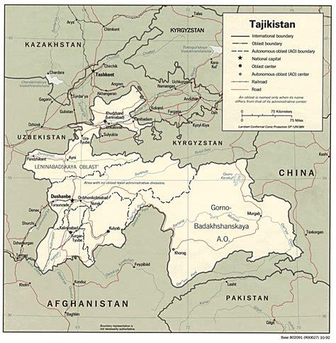 map of tajikistan tajikistan geography focusing on tajikistan