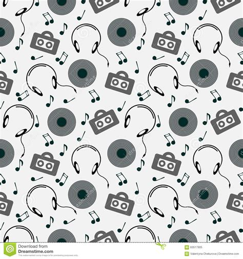 video player pattern seamless music vector pattern chaotic background with