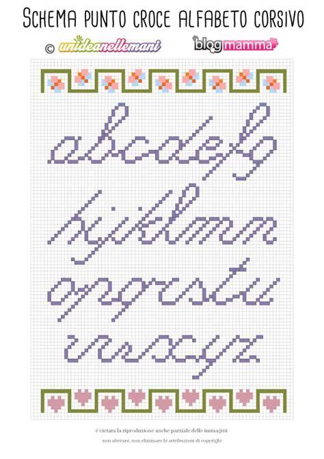 lettere punto croce in corsivo ricamare lettere schema alfabeto a punto croce minuscolo