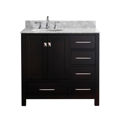 Home Depot Makeup Vanity by Design Element Two 36 In W X 22 In D Vanity In Espresso With Marble Vanity Top In