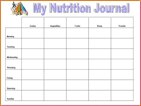diary template docs food log template free documents in word excel