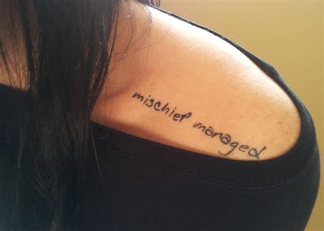 mischief managed contrariwise literary tattoos