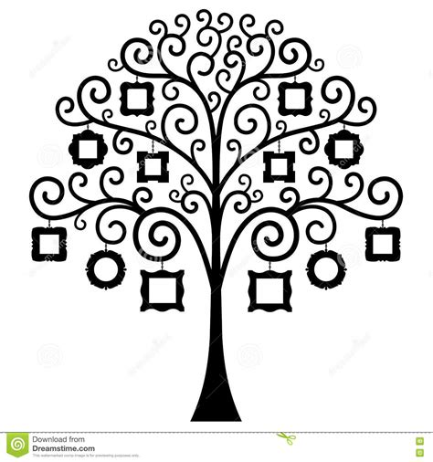 Family Genealogical Tree On Black Background Vector Vector Illustration Cartoondealer Com Family Tree Template Empty Frames Photos Stock Vector 656586004