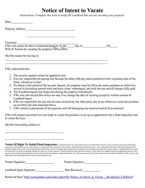 vacate notice landlord printable documents
