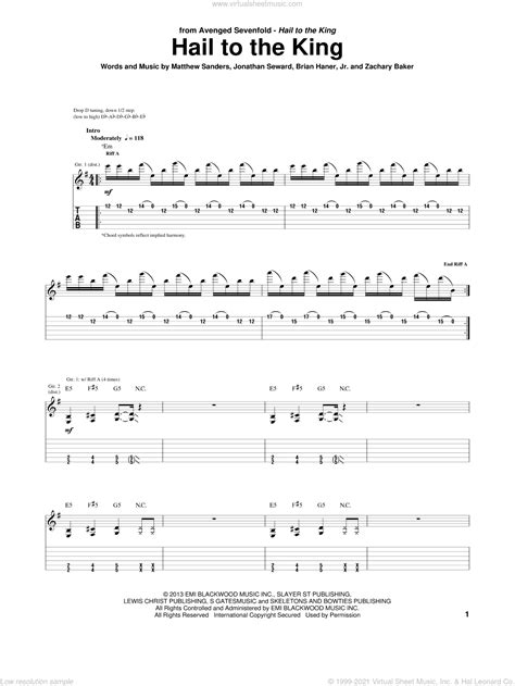 Sevenfold - Hail To The King sheet music for guitar