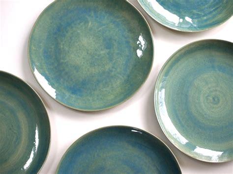 Handmade Tableware - stoneware plates dinner set glazed in green ceramic plate