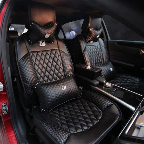 black leather car seat cover  bling swan  pieces set leather car seat covers seat