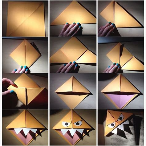 How To Make Paper Monsters - origami bookmark pictorial by me xoxo chanel