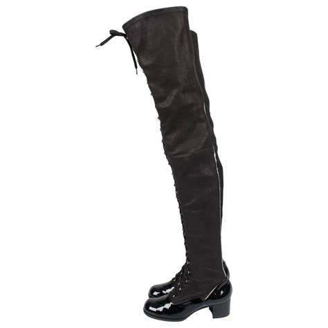 chanel thigh high lace up boots black for sale at 1stdibs