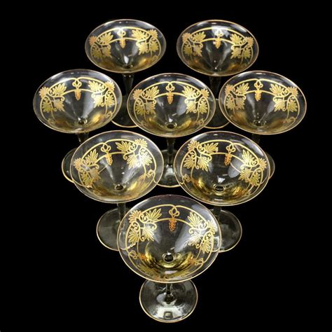 venetian amber art glass hand painted gilt martini