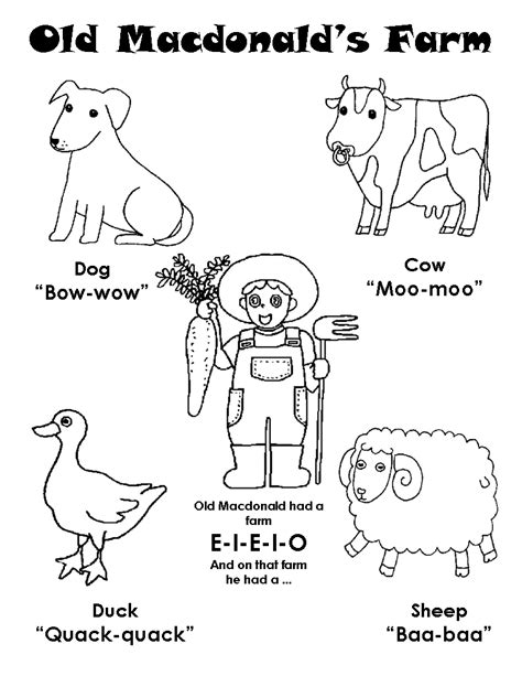 free coloring pages of old macdonald farm