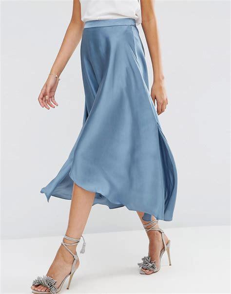 asos midi skirt in satin with splices 1 satiny