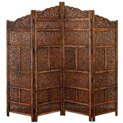 Moroccan Room Divider 4 Panel Moroccan Style Carved Solid Wood Screen Room Divider Br