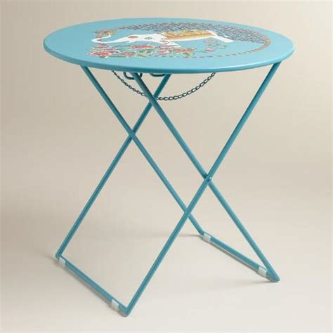 round metal accent table blue round metal accent table world market