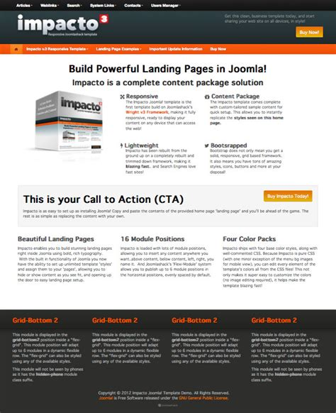 joomla landing page template impacto v 3 responsive mobile ready joomla landing page