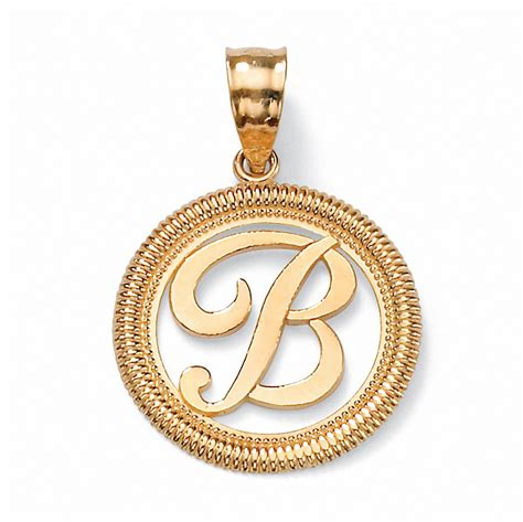 14k yellow gold personalized script initial pendant at
