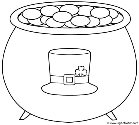 leprechaun hat coloring page pot of gold with leprechaun hat coloring page st