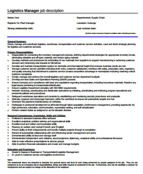 logistics job description sle 12 exles in word pdf