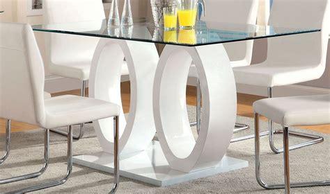 Lodia Set lodia i white glass top rectangular pedestal dining room