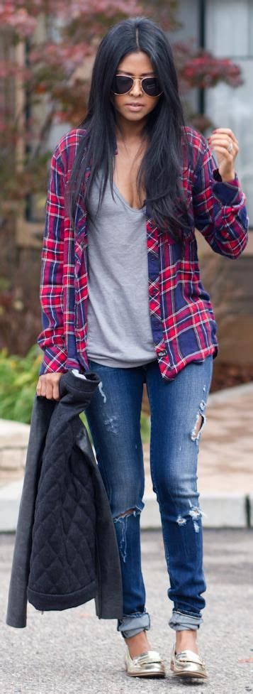 Casual Trend Alert Plaid Shirts Andjeans by Style Gold Flats Flats And Grey
