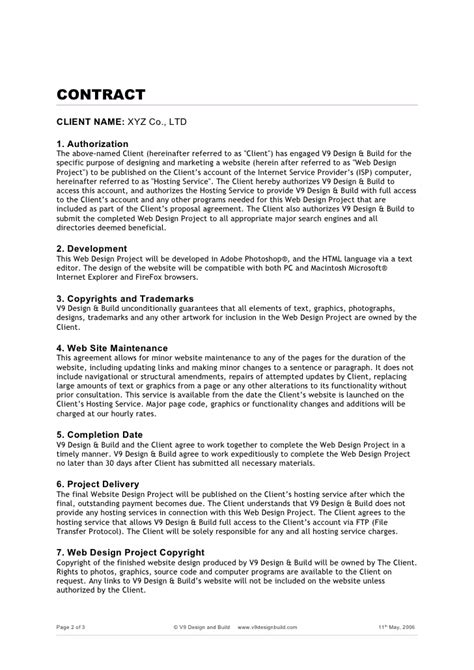 Project Agreement Letter Sle Web Project Agreement Form Doc
