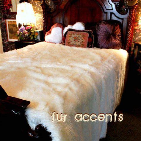 king queen polar bear faux fur bedspread  shannaleigh