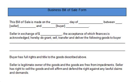 bill of sale for business template sle business bill of sale form 6 free documents in