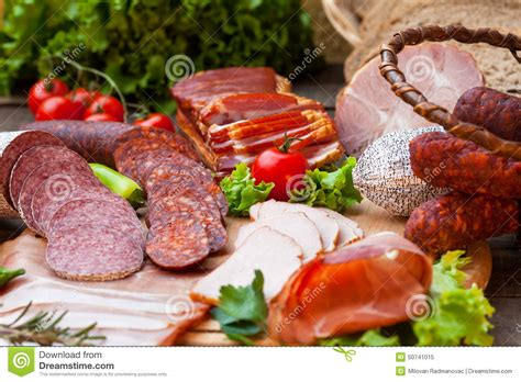 Sosis Beef Cooked Salami Sliced sausages salami ham and bacon stock image image 50741015