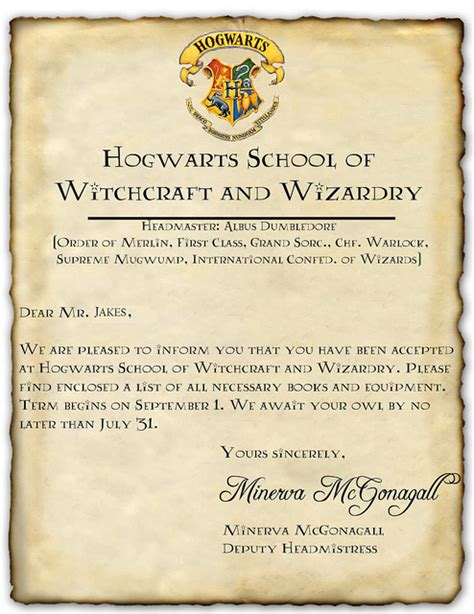 Acceptance Letter For Hogwarts School Of Witchcraft And Wizardry Hogwarts Acceptance Letter Template Cyberuse