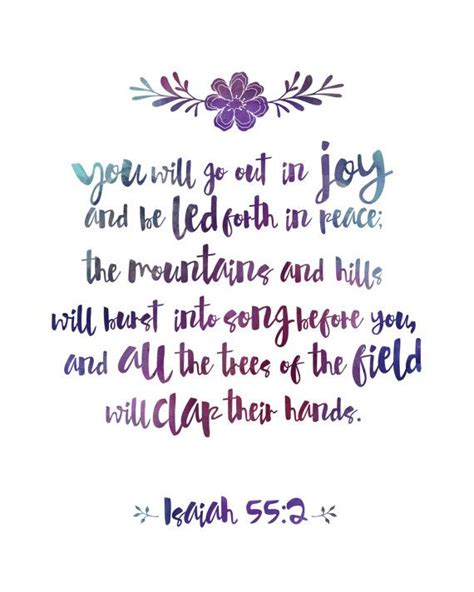 printable inspirational quotes from the bible you will go out in joy print purple watercolor print